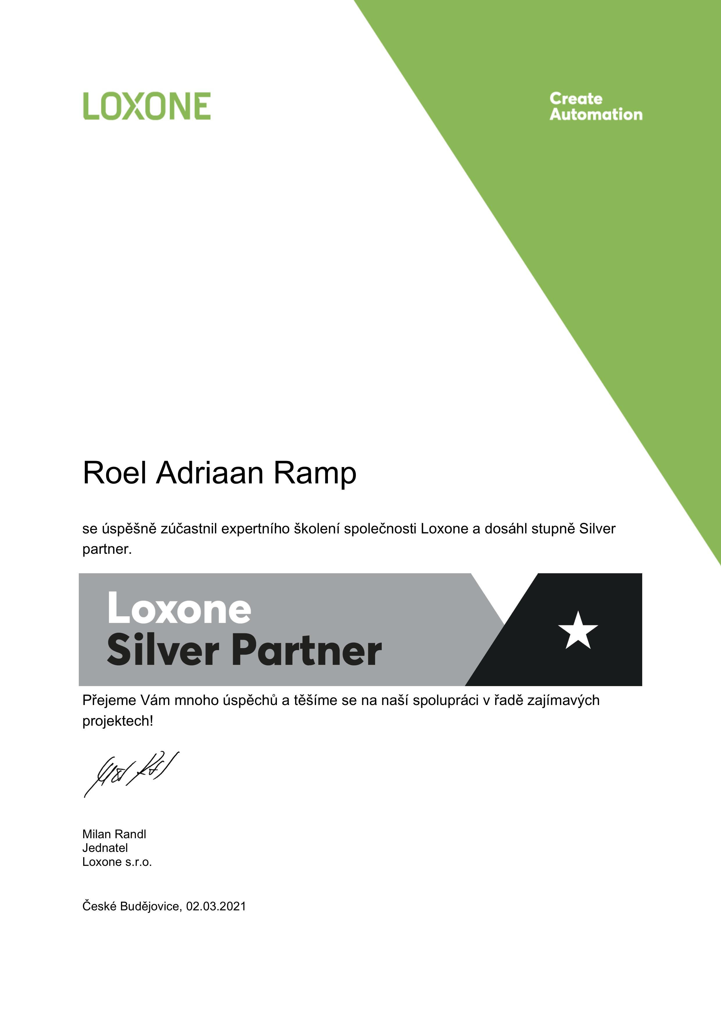 Naše společnost se stala Loxone Silver partnerem