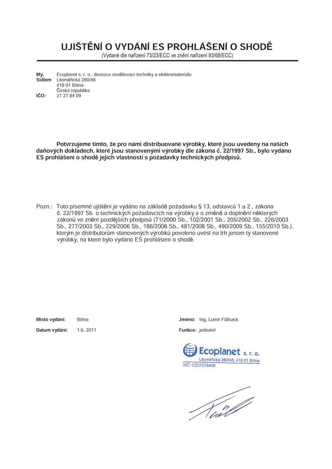 Certifikát k LED svítidlům Ecolite