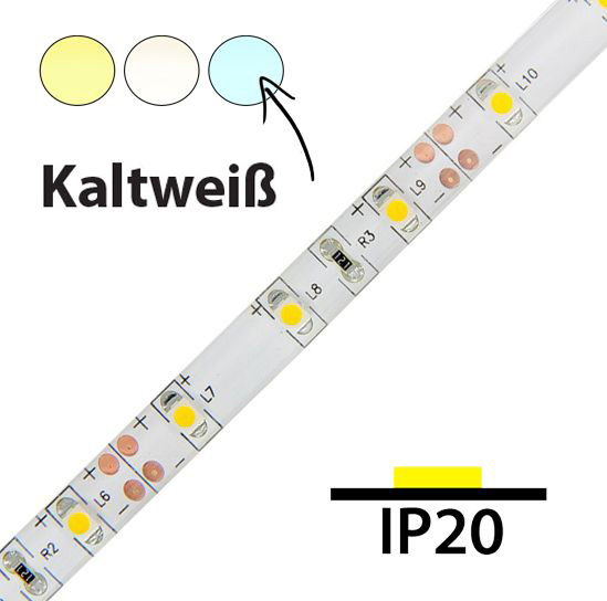 LED Streifen 4,8W / m  Kaltweiß