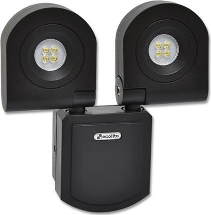 Schwarz LED Fluter 2x10W Kaltweiß