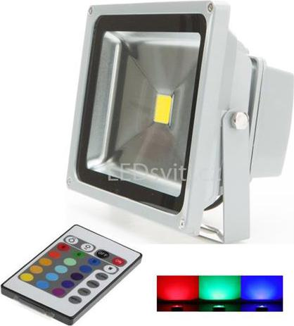Silber RGB LED Strahler 30W mit RF Controller