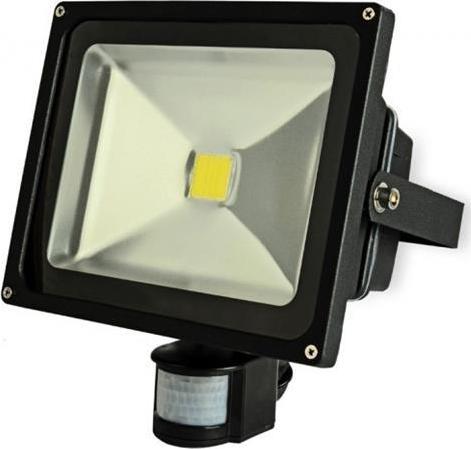 Schwarzer LED Strahler mit Bewegungsensor 30W Tageslicht