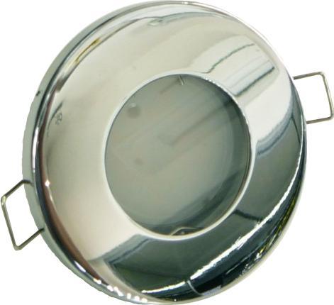 T-LED Chrom vestavné podhledové LED svítidlo 5W teplá bílá IP44 230V + 1x LED žárovka GU10 5W teplá bílá + 1x rámeček