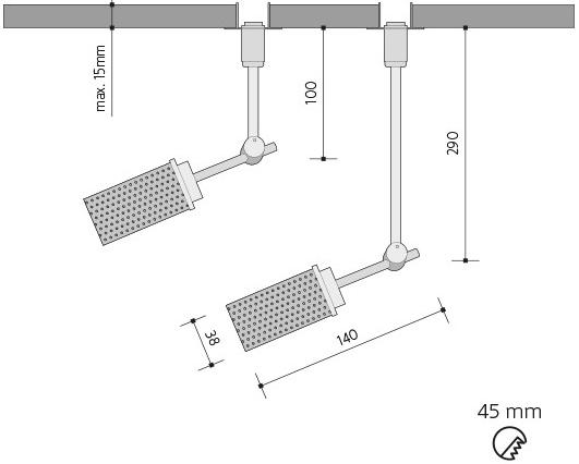 Silber reflektor 4,5W Lima Gipskartonplatten 10cm G9 Tageslicht