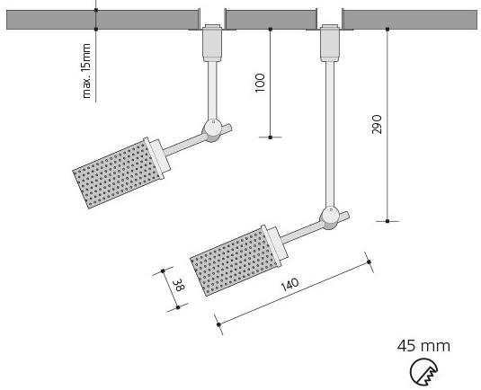 Silber reflektor 4,5W Lima Gipskartonplatten 26cm G9 Warmweiß