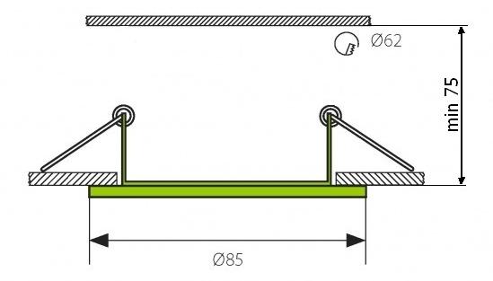 Chrom eingebaut Decke LED Leuchte 3,5W Warmweiß IP44 230V