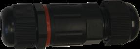 Čierna kábelová vodotesná spojka I SCJ IP68 3x 1,5