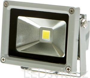 Strieborný LED reflektor 12V 10W biela
