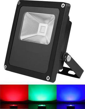 Čierny RGB LED reflektor 10W s RF diaľkovým ovládačom