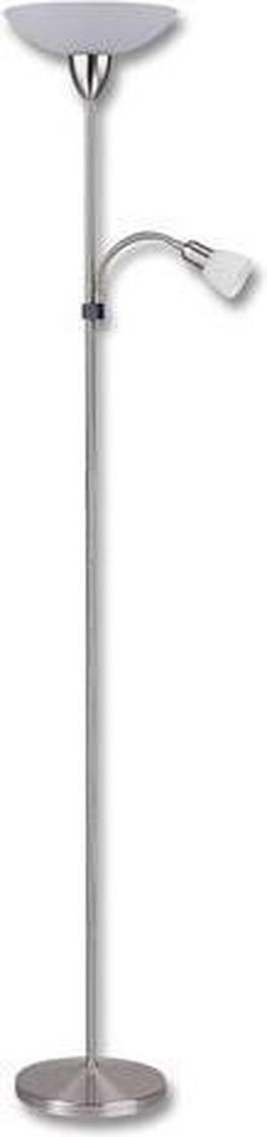 Biela LED stojaca lampa 15W teplá biela s chrómovým stojanom
