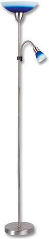 Modrá LED stojaca lampa 15W teplá biela s chrómovým stojanom