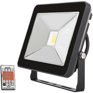 Čierny LED reflektor s pohybovým snímačom 30W SLIM neutrálna biela