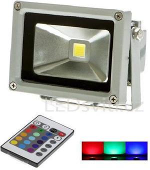 Strieborný RGB LED reflektor 10W s RF diaľkovým ovládačom