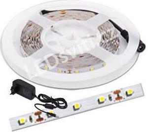 LED pásik 4,8W/m bez krytia biela kompletná sada 5m
