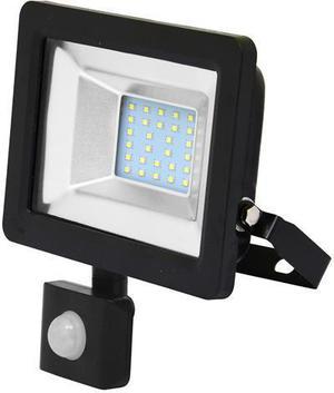 Čierny LED reflektor 20W city so snímačom 5000K neutrálna biela