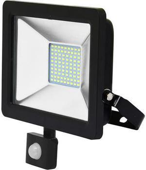 Čierny LED reflektor 30W city so snímačom 5000K neutrálna biela