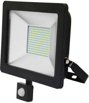 Čierny LED reflektor 50W city so snímačom 5000K neutrálna biela