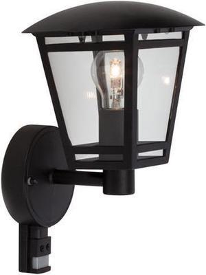 Čierná LED retro lampa nástenná s čidlom 8W teplá biela