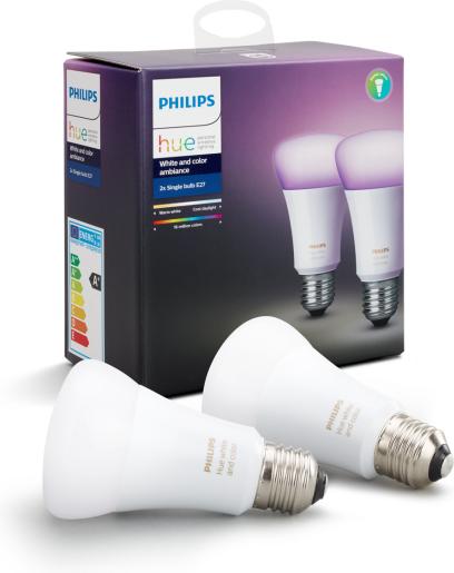 Philips HUE 2x SET žiarovka 10W RGB E27 806lm 3000 6000K 16 mil. Farieb