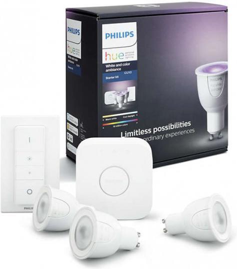 Philips HUE white and Color Ambiance 6,5W GU10 RGB + ovládač a mostík