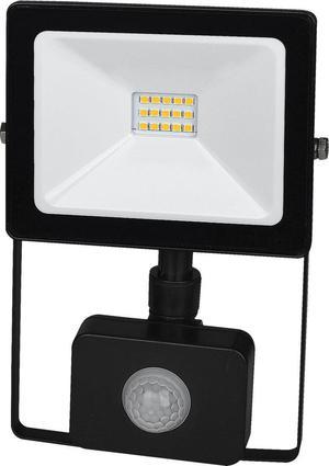 Čierny LED reflektor 10W SMD s čidlom studená biela