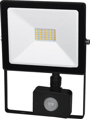Čierny LED reflektor 20W SMD s čidlom studená biela