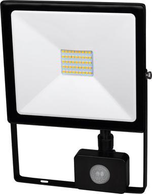 Čierny LED reflektor 30W SMD s čidlom studená biela
