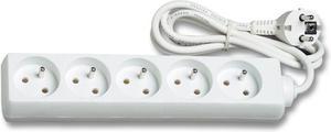 Predlžovací kábel 1,5m 5 zásuvek bez vypínača
