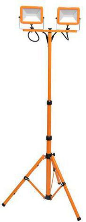 Orangener LED Strahler mit teleskopisch staender 2 x 30W Tageslicht