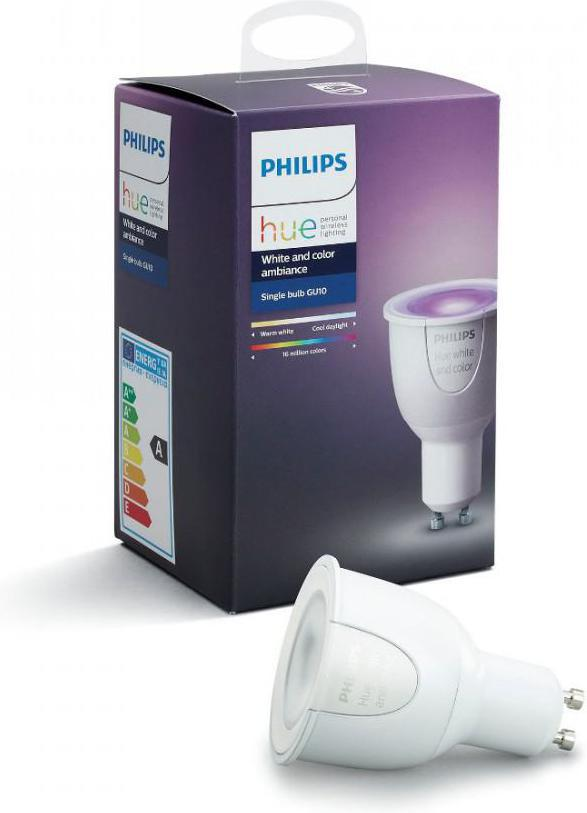 Philips HUE LED Lampe 6,5W RGB GU10 250lm 2200 2700K 16 mil.barev