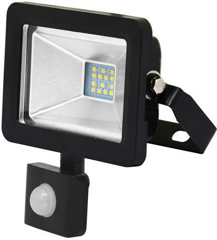 Schwarzer LED Strahler 10W city mit Sensor 5000K Tageslicht