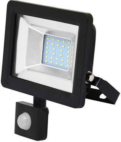 Schwarzer LED Strahler 20W city mit Sensor 5000K Tageslicht