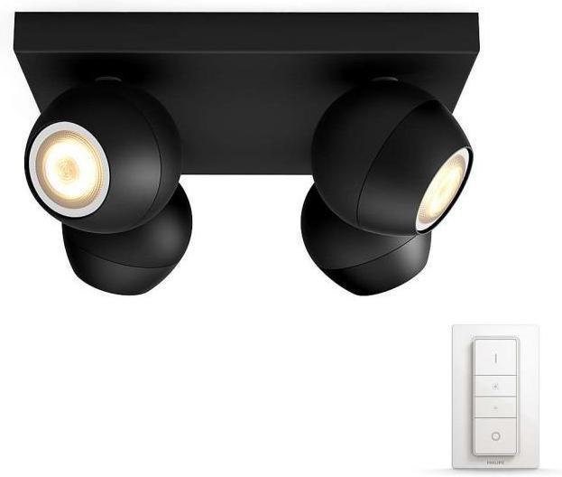 Philips HUE Buckram LED Strahler GU10 4x5,5W 4x250lm 3000 6000K schwarz 50474/30/P7