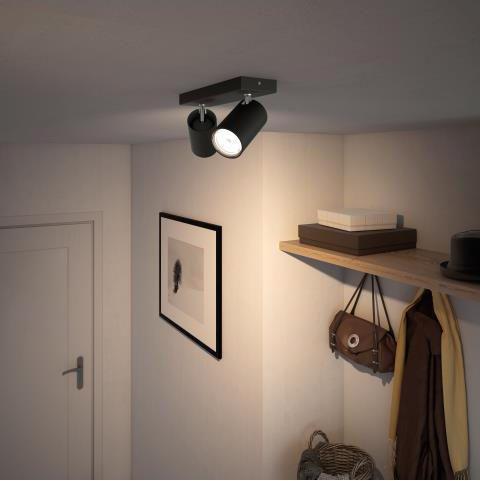 Philips LED Spotlicht GU10 2x10W Tageslicht schwarz Kosipo 50592/30/PN