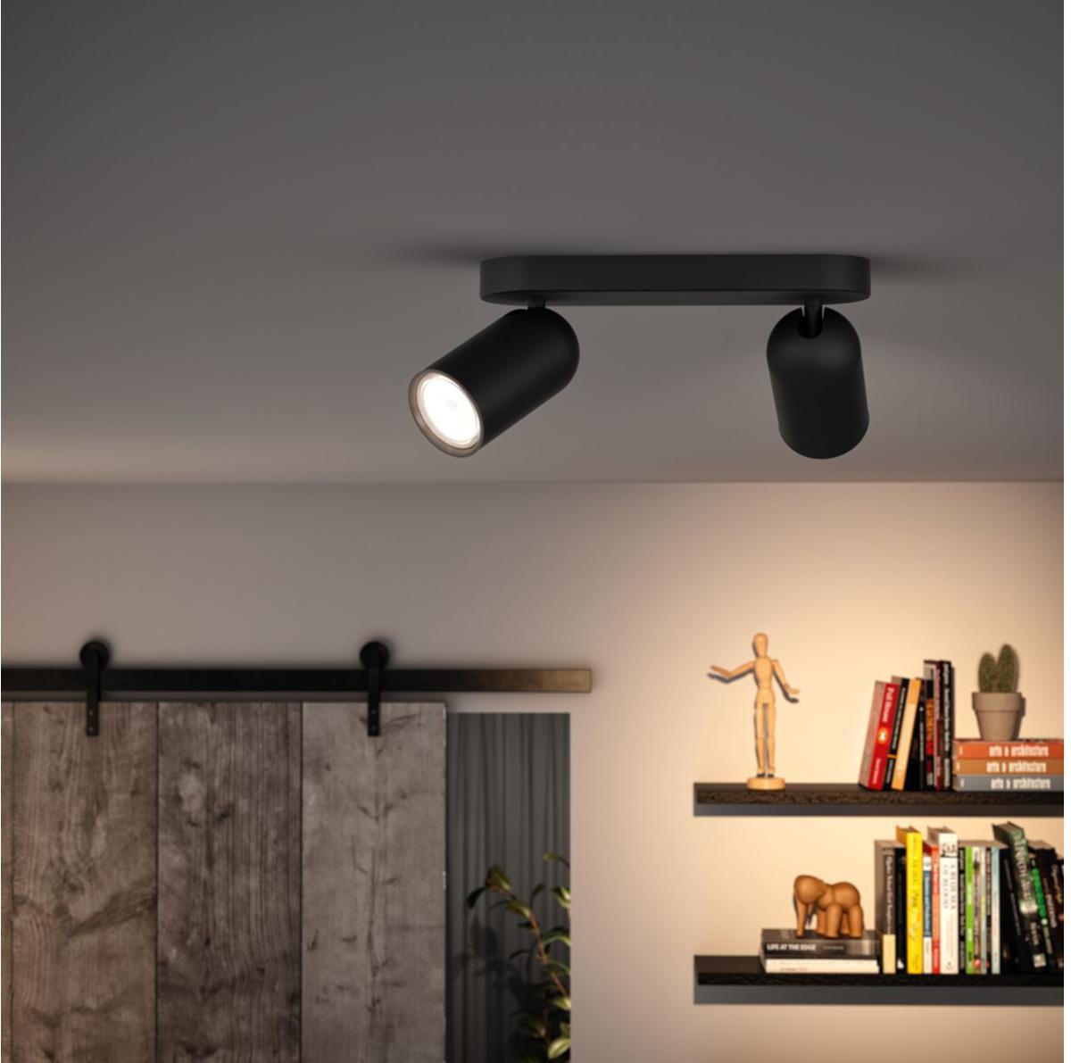 Philips LED Spotlicht GU10 2x10W Tageslicht schwarz Pongee 50582/30/PN