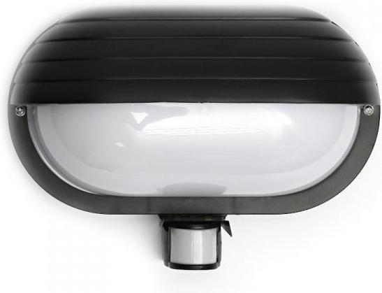 Schwarze LED DeckBirne 10W Tageslicht IP44 mit Sensor