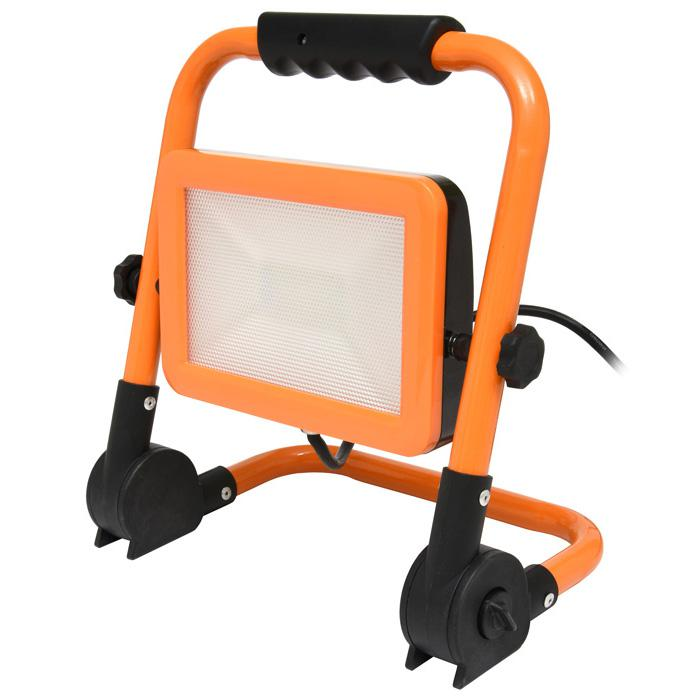 Orangener LED Strahler mit Staender 100W Tageslicht