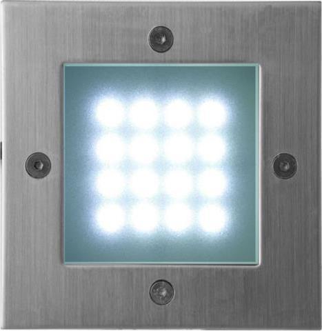Eingebaute außen LED Lampe 1W 105 x 105mm Kaltweiß