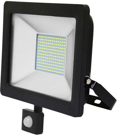 Schwarzer LED Strahler 50W city mit Sensor 5000K Tageslicht