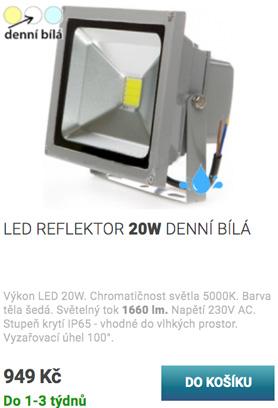 LED reflektor 20W bílá