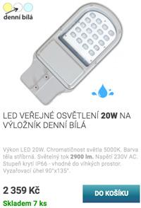 LED veřejné osvětlení 20W denní bílá