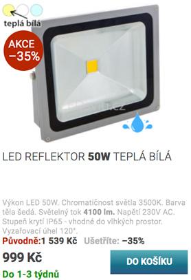 LED reflektor 50W teplá bílá
