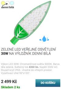 Zelené LED veřejné osvětlení 30W denní bílá
