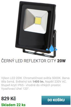 Černý LED reflektor city 20W