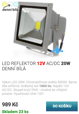 LED reflektor 20W 12V bílá
