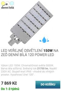 LED veřejné osvětlení 150W teplá bílá 120 Power LED