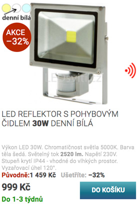 LED reflektor s pohybovým čidlem 30W bílá
