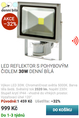 Černý lištový LED reflektor 20W denní bílá
