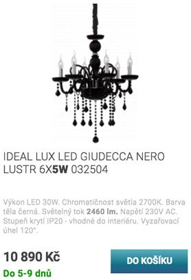 IDEAL LUX LED GIUDECCA NERO LUSTR 6X5W 032504
