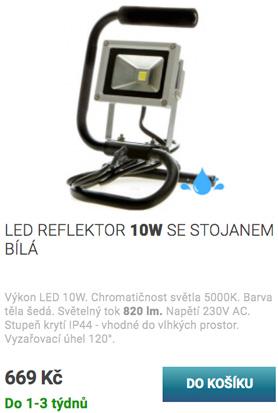 LED reflektor se stojanem 10W bílá
